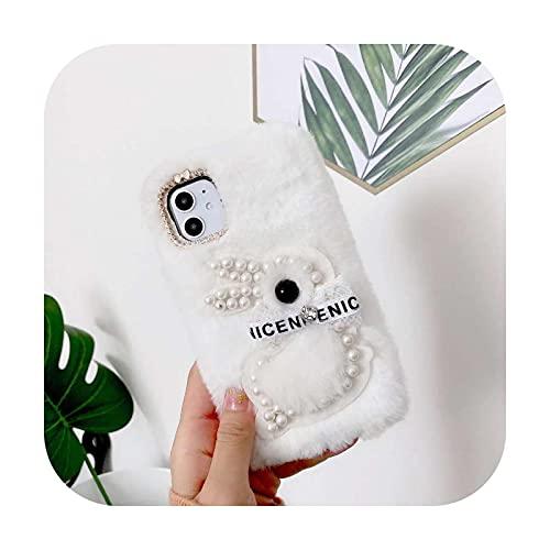Lindo 3D piel larga invierno teléfono caso para Huawei Honor 9X 10i 20 10 P10 P20 P30 P40 Lite 7A Pro P Smart 2020 2021 contraporta-blanco-C-Honor 10