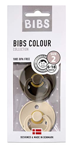 BIBS Schnuller Colour 2er Pack, Naturkautschuk, dänische Schnuller mit Kirschform (Chocolate/Vanilla, Größe 2 (6-18 Monate))