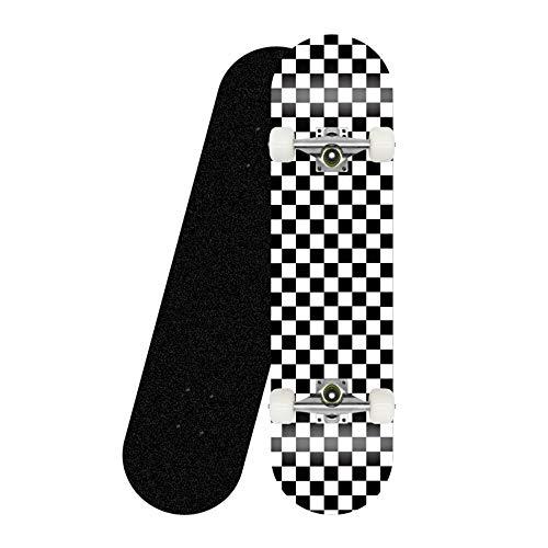 LONGXJA Anfänger Skateboard, komplettes Skateboard Ahorn Deck 31 Zoll, geeignet für Kinder, Jugendliche und Erwachsene Standard Skateboards-Schwarz-Weiß-Gitter_Weiße Räder