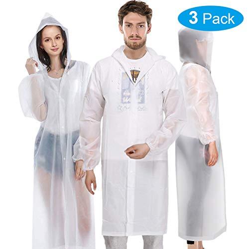 "OPPMART Rain Coats,3 Pack Reusable Rain Coat Jacket with Hood EVA Portable Raincoat - Emergency Rain Coat for Theme Park, Hiking, Camping or Traveling,Size 61.4"" by 26.4"""
