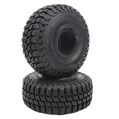 Drfeify 2 Piezas RC Remote Car 1.9in Neumático de Goma Rueda Neumático Eje de Seguimiento para neumáticos TRX4 D90 1/10 RC Crawler