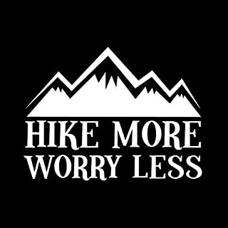 Hike more worry less hiking camping car decal Print, Car, Auto, Wall, Locker, Laptop, Ipad, Notebook, Netbook, Vinyl, Sticker, Decal, Label, Placard