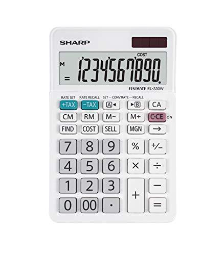 Sharp EL-330W Tischrechner mit abgewinkelte Anzeige (10-stelligem Display, Solar-/Batteriebetrieb) weiß