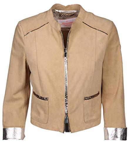 MILESTONE Damen Lederjacke aus Velours Elinda Größe 36 EU Beige (beige)