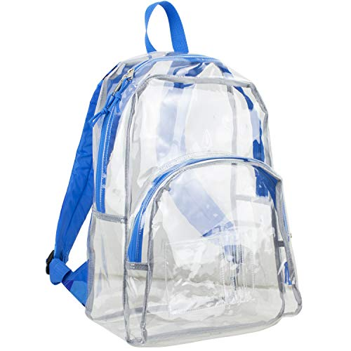 Eastsport Clear Dome Backpack with Adjustable Printed Padded Straps - Blue Sky/J Shape Print