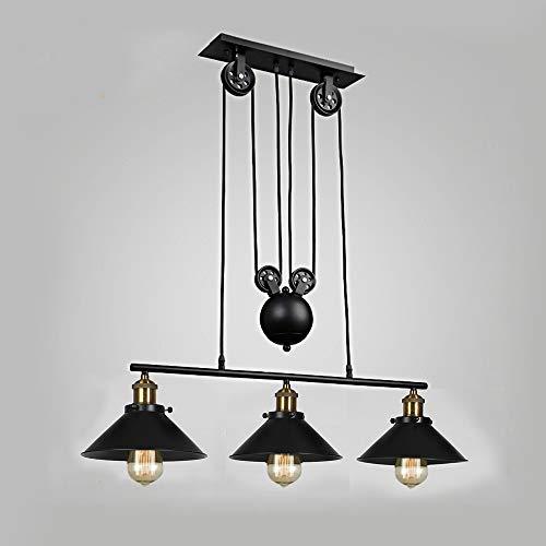 Lampe à suspension à trois lumières, îlot de cuisine réglable industriel rustique lustre ferme ferme Vintage plafonniers luminaire pour cuisine île salle à manger foyer