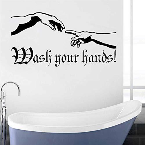 XCSJX Etiqueta engomada de la Pared de la Mano de la creación del Arte de Adam Cita Etiqueta de Lavado de Manos Etiqueta de Regla de higiene Decoración de baño Impermeable 48x95cm