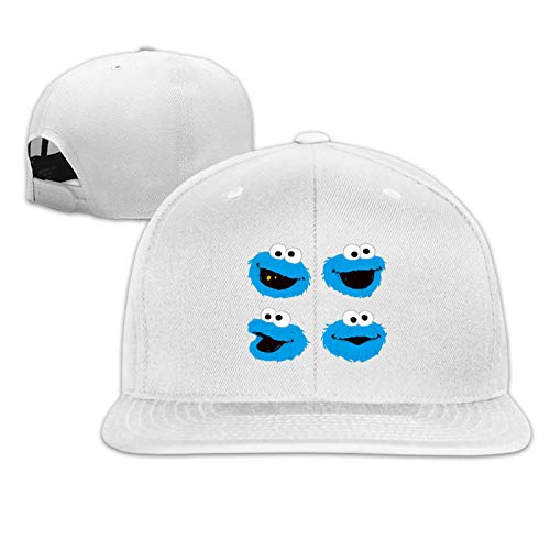 JierJi Men/Women Cookie Monster Head Graphic Design Flat Bill Baseball Cap White