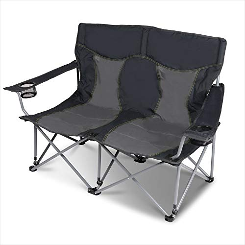 XXL Campingsofa mit 240 KG Tragkraft | 2 Getränkehalter | Doppel-Campingstuhl im Lounge-Charakter für EXTREMEN Komfort | Minimales Gewicht | für 2 Personen (Campingsofa Grau-Schwarz)