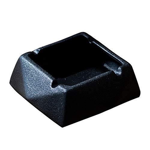EJKDF Cenicero, a Prueba de Viento y fáciles de Limpiar, cerámica, Hecha a Mano, Regalos creativos Personalizados, adecuados para Oficina en casa Interior y al Aire Libre Black