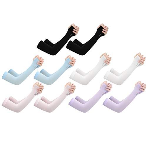 LUOEM 10 Stücke Sonnenschutz Armlinge Arm Ärmel UV Schutz Ärmlinge Arm Sleeves Eis Kühlender Damen Armstulpen für Herren Golf Sport Outdoor Radsport Radfahren