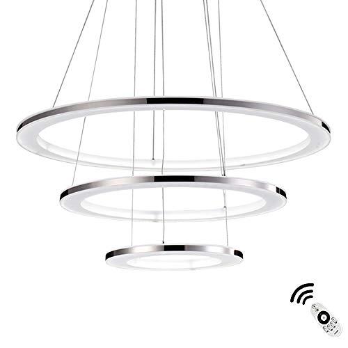 96W LED Pendelleuchte Rund 3-Ring Kronleuchter Dimmbar mit Fernbedienung Edelstahl und Acryl Chrome Pendellampe Höhenverstellbar Decken-Lampen Esszimmer Schlafzimmer Wohnzimmer,φ30+50+70CM