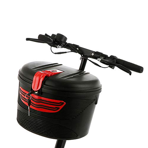 bicicleta eléctrica marco delantero coche cesta de bicicleta de montaña de plástico especial almacenamiento con cubierta de bloqueo impermeable bolsa de alforja colgante manillar sillín