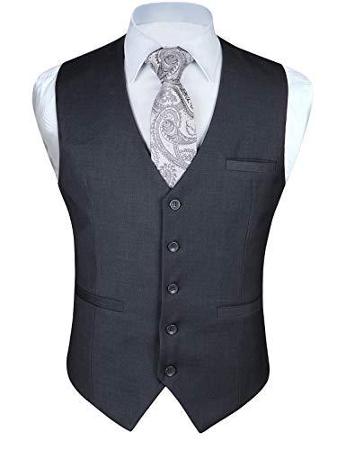 (ヒスデン) HISDERN スーツ ベスト メンズ グレー 結婚式 ジレ チョッキベスト Vネック フォーマル ビジネス 男性用 礼服 大きいサイズ L