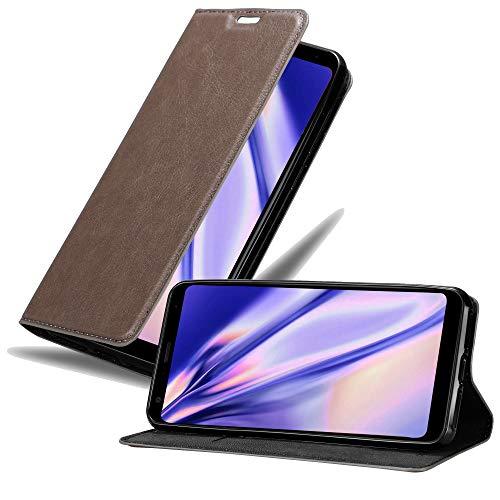 Cadorabo Hülle für LG Q Stylus - Hülle in Kaffee BRAUN – Handyhülle mit Magnetverschluss, Standfunktion & Kartenfach - Hülle Cover Schutzhülle Etui Tasche Book Klapp Style