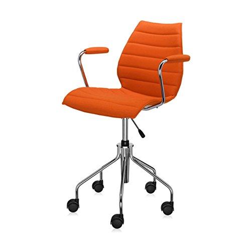 Kartell Maui Soft Bürostuhl mit Armlehnen, orange Stoff Trevira höhenverstellbar 49-57cm mit Gasdruckfeder