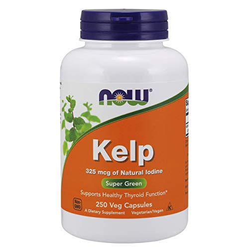 NOW Supplements, Kelp 325 mcg of Natural Iodine, Supports Healthy Thyroid Function*, Super Green, 250 Veg Capsules