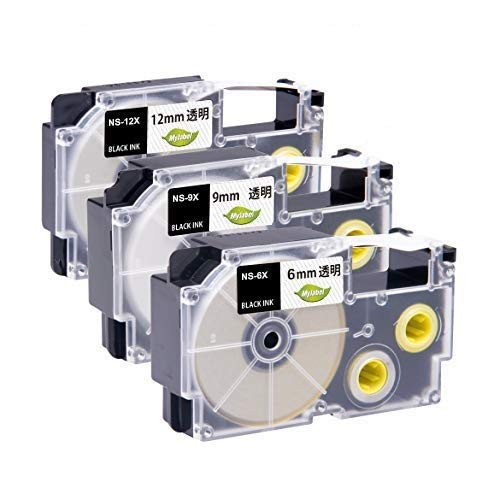 Mylabel ネームランド ラベルライターテープ <CASIO(カシオ) 12mm/9mm/6mm 透明 XR-12X/XR-9X/XR-6X互換 各1個 3個セット 透明テープ黒文字 長さ8M> 互換ネームランドテープ