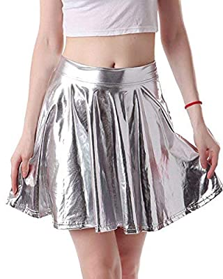 OUGES Women's Shiny Casual Flared Pleated Skirts A-Line Circle Skater Skirt