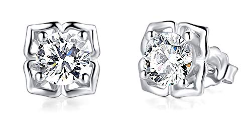 925 Sterling Silver Earrings, BoRuo Cubic Zirconia Round Cut Stud Earrings