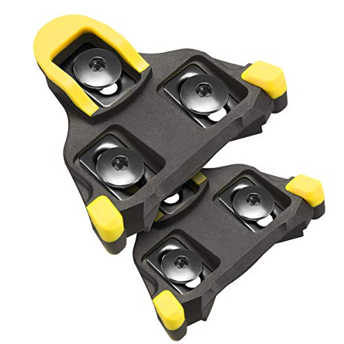 NAACOO Bike Cleats Compatible with Shimano SPD-SL SM-SH Cleats- Indoor Outdoor Peleton Spin Cycling Pedals Cleat & Road Bike Bicycle Clips Set-Self-Locking (Yellow- 6° Float)