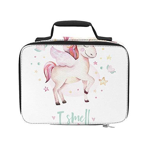 Bolsas de comestibles con diseño de unicornio y estrellas arcoíris, aisladas, a prueba de fugas, para adultos, 9,51 x 3,15 x 7,122 cm, para compras, para trabajo, picnic, senderismo, playa.
