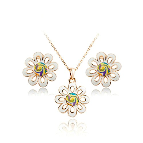 Epinki Gold Plated Womens Jewelry Set Necklace and Earrings Chrysanthemum Flower Rose Gold