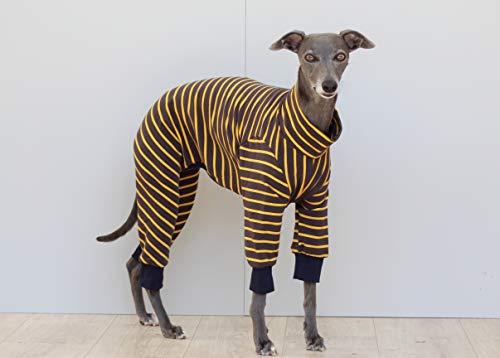 The Trendy Whippet Pijama de Rayas Gris y Amarilla con dise