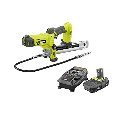 Ryobi P3410-P163 18-Volt ONE+ Grease Gun Kit with (1) 2.0 Ah Lithium-Ion Battery and Dual Chemistry Charger