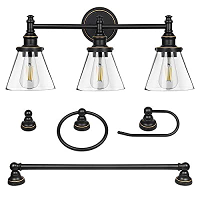 DEWENWILS 3-Light Vanity Light Fixtures, 5-Piece All-in-One Bathroom Set, Light Fixtures with Clear Glass Shades, Towel Bar, Towel Ring, Robe Hook, Toilet Roll Holder, Oil Rubbed Bronze