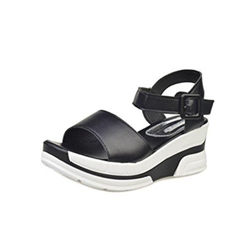 Sandalias Mujer Verano 2019 Zapatos de Plataforma Mujer Sandalias Planas Playa Zapatillas Sandalias de Punta Abierta Casual Fiesta Roman Tacones Altos Sandalias vpass