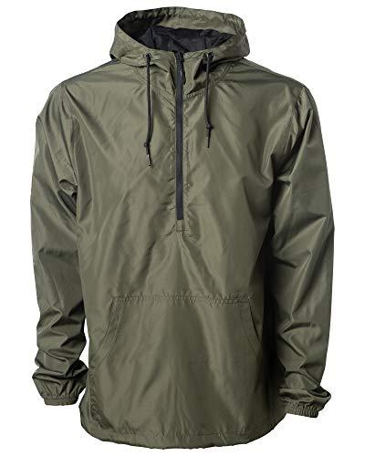 Windproof Lightweight Windbreaker Shell Jacket for Men and Women (Army Green, Large)