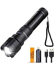 RIMICAB Super Bright XHP50 LED-zaklamp, USB oplaadbare tactische zaklamp, compatibel 18650 (meegeleverd) en AAA-batterij, 5 modi Zoombare IPX6 waterdichte zaklamp voor kamperen, noodgevallen