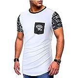 T-Shirt Uomo Stretch Girocollo Allacciatura Uomo Shirt Basic Estate personalità Stampa Contrasto Colore Maniche Corte Uomo Tempo Libero Shirt Tendenza Moda Uomo Streetwear