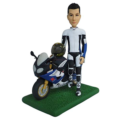 men with motorbike figurines personalized portrait custom bobblehead clay dolls 3D caricature figurines for motorcyclist