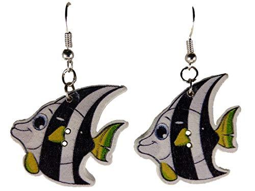 Ohrringe Ohrhänger Hänger Holz Skalar Fisch Aquarium Südamerika Skalare 10.140