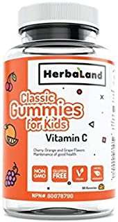 Vegan Vitamin C Supplement for Kids by Herbaland - Plant-Based and Natural Ingredients Vitamin Gummies for the maintenance...