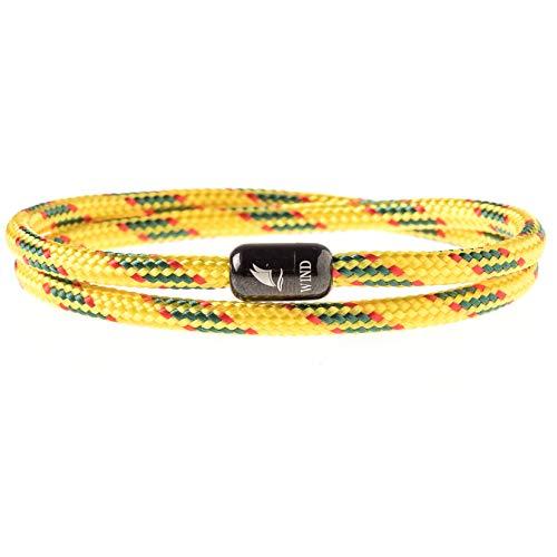 Wind Passion Bracelet Jaune Aimanté Magnétique Corde Nautique pour Homme et Femme, Taille Medium