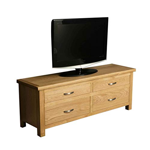 London Oak 120cm Large Chest of Drawers or TV Stand for Living Room or Bedroom Smart Televisions up to 54 inches | Roseland Furniture Solid Wooden 4 Drawers Storage Unit | Fully Assembled