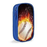 火の野球 ペンシルケース メイクアップバッグ少容量 高級ポリエステル生地で耐久性に優れ、耐引裂性に優れ ジッパーペンシルポーチ快適で洗える 子供から大人まで