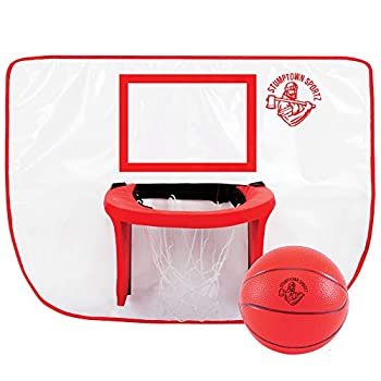 Stumptown Sportz Trampoline Basketball Hoop with 3 Basketballs   Soft Material Safe for Kids   Durable for Outdoor Play