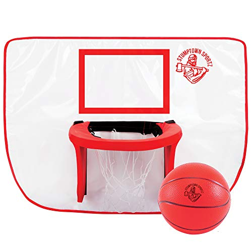 Stumptown Sportz Trampoline Basketball Hoop with 3 Basketballs   Soft Material, Safe for Kids   Durable for Outdoor Play