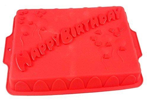 GMMH Silikonbackform Happy Birthday rot Kuchen Backform Kuchenform Brotbackform Obstbodenform (rot)