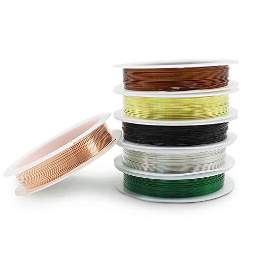 6 rollos de alambre para abalorios de joyería, alambre de cobre, alambre de cobre para pulseras, collares, pendientes, joyería (Multi)