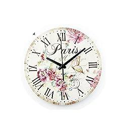 MOAAA Vintage Wall Clock Silent Large Size Wall Clock Roman Numerals Retro Bedroom Decor Quartz Watch,14Inch 35Cm Style 1