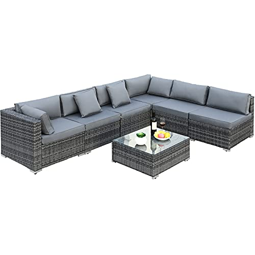 7 Piece Rattan Garden Sofa Furniture Set, Outdoor Patio Sofa Set, with 8 cm Cushions and Coffee Table, for Lawn Terrace