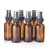 Lwl 6pcs 1Oz 30ml Botellas de Vidrio ámbar de Aerosol w/Negro Fine Brumizador Recargables Botellas de Aceite Esencial envases cosméticos vacíos