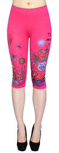 dy_mode Capri Leggings Damen 3/4 lang mit Blumen Muster Kurze Damen Leggings Flower Print - One Size 34 bis 38 - CLG067 (CLG067-Pink)