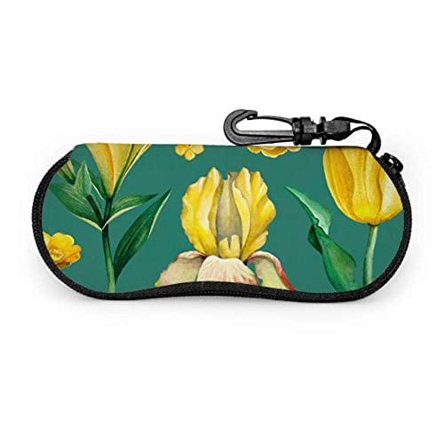 Estuche para gafas Amarillo Retro Romántico Flor Lily Girl Estuche para gafas de sol Estuches para anteojos para adolescentes Estuche ligero portátil Estuche para gafas para niñas, 17x8cm