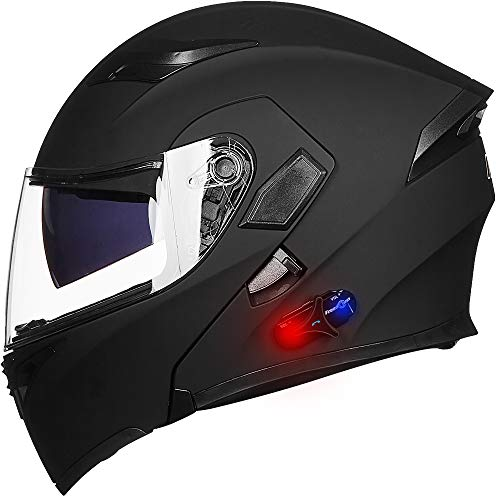 ILM Bluetooth Motorcycle Helmet Modular Flip up Full Face Dual Visor Mp3 Intercom FM Radio DOT Approved (Matte Black, 2XL)